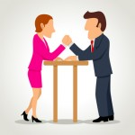 Cartoon of a businesswoman arm wrestling with a businessman
